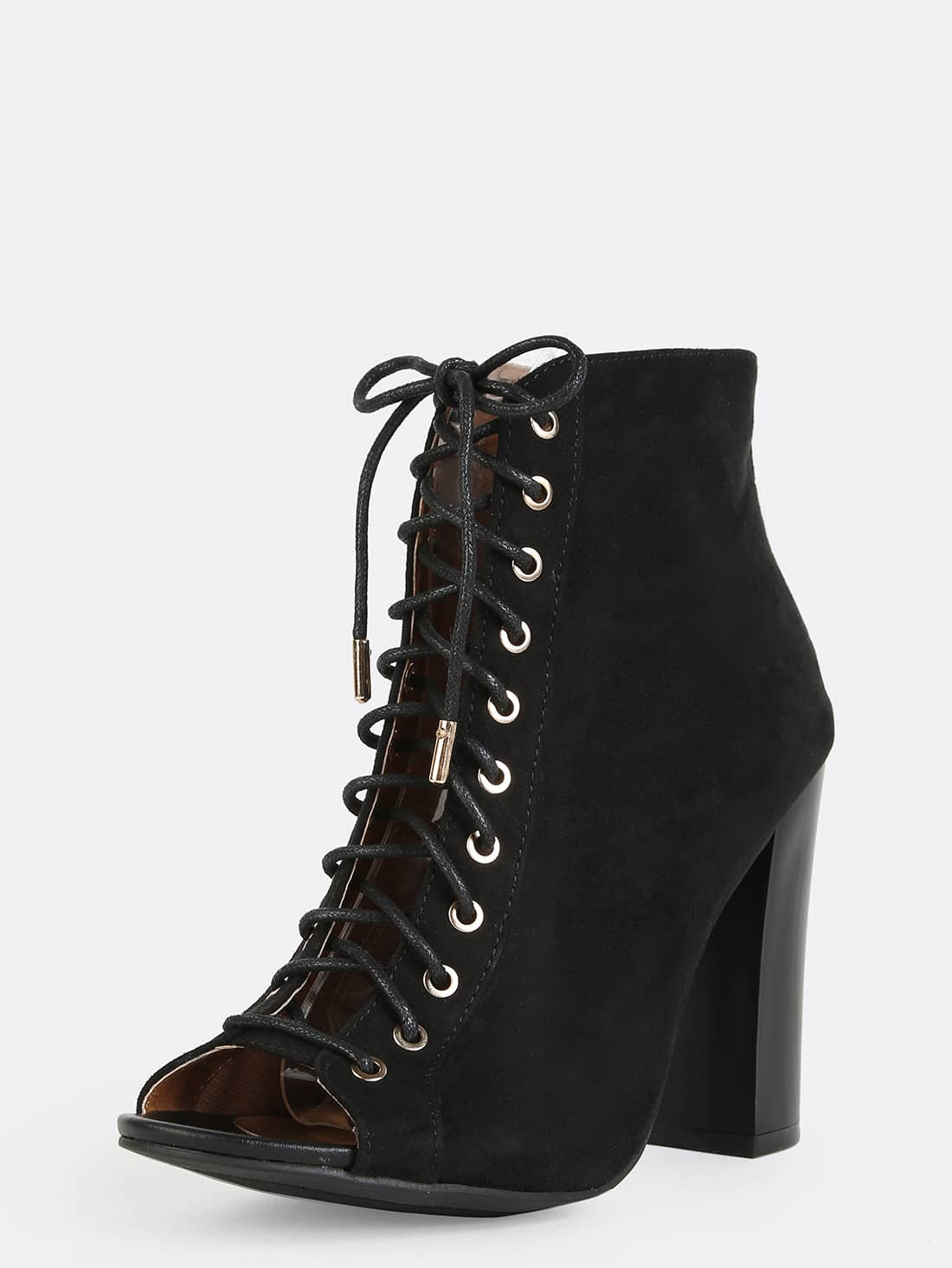 lace up chunky heel ankle boots black shein sheinside
