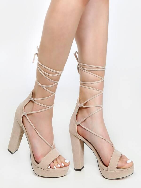 87a2acfe94 Platform Lace Up Chunky Heels NUDE | SHEIN