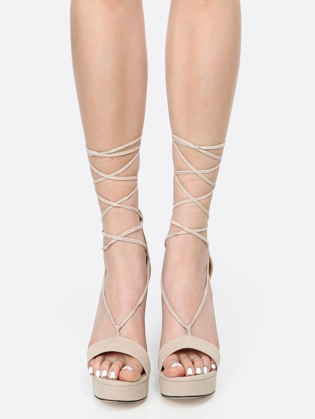 Platform Lace Up Chunky Heels Nude Shein-4545