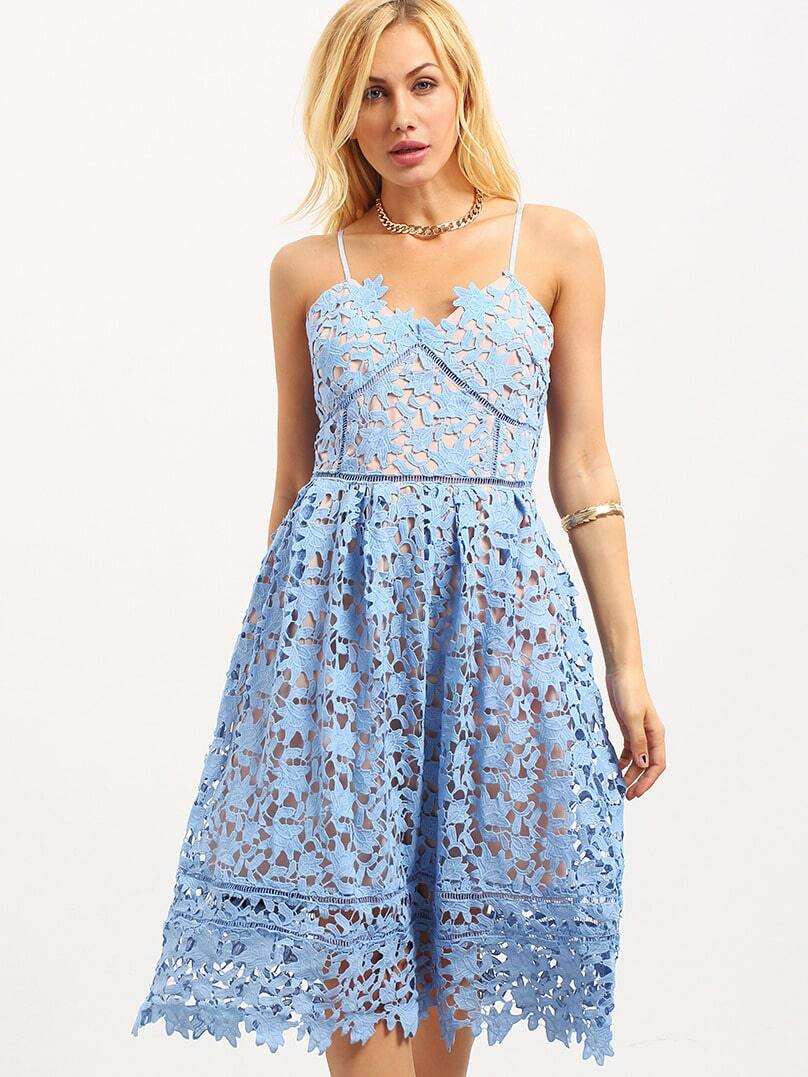 Hollow Out Fit & Flare Lace Cami Dress - Blue -SheIn(Sheinside)