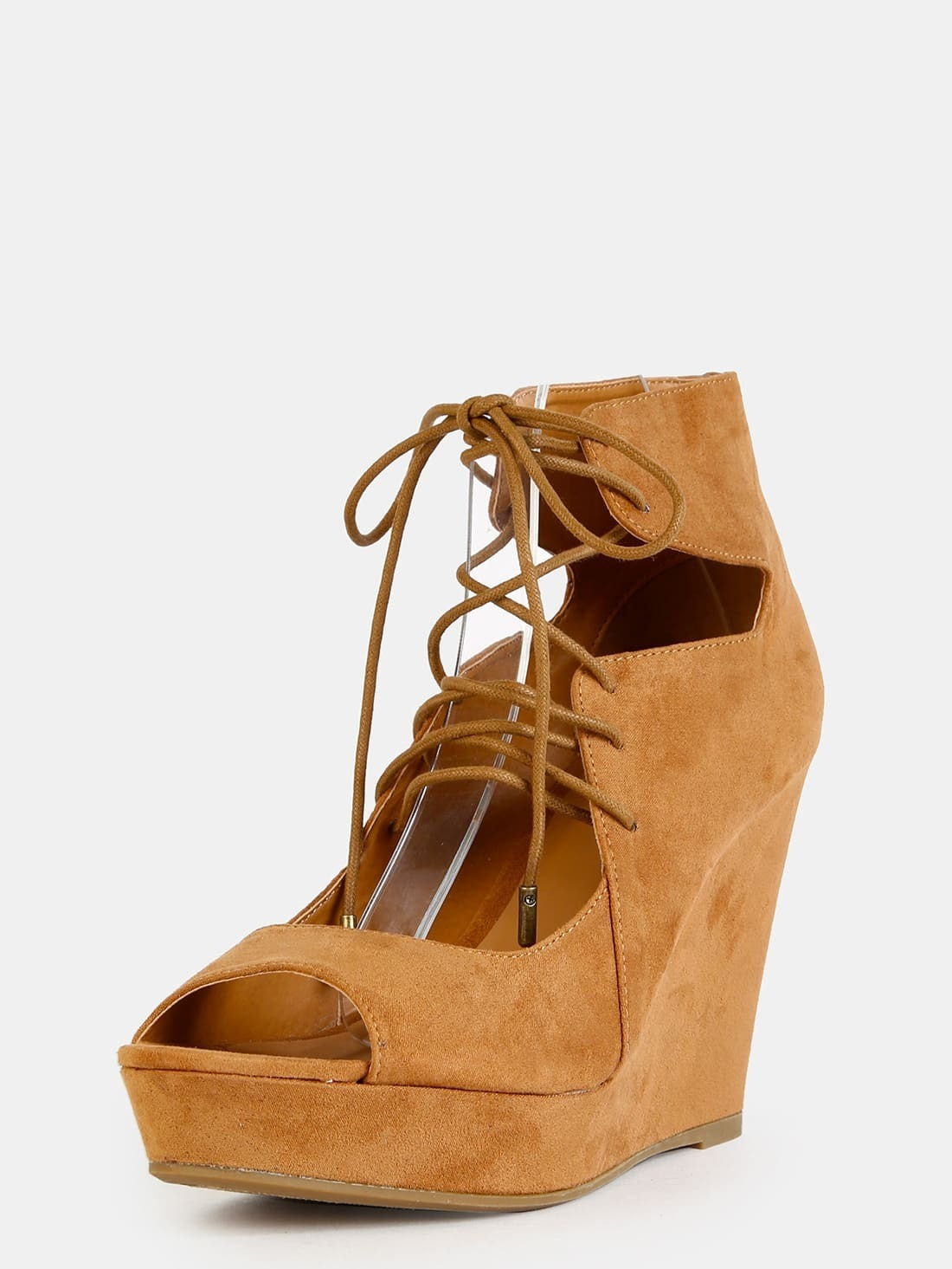 tie up faux suede wedges shein sheinside