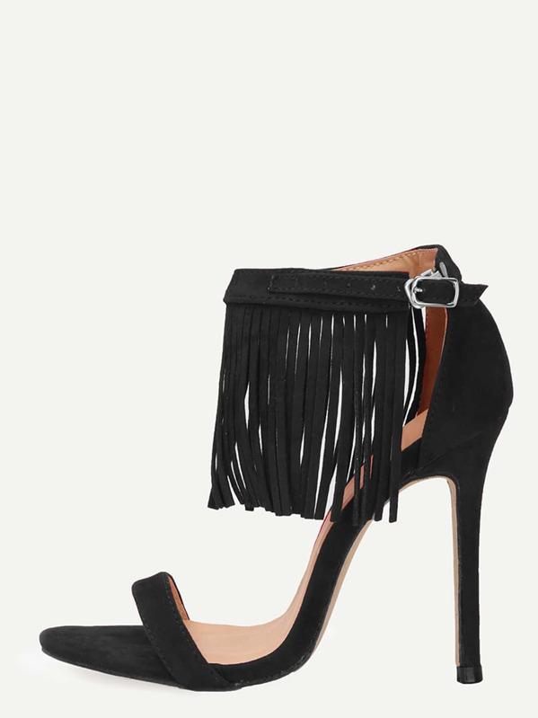 01484951bae378 Black Faux Suede Fringe Ankle Strap Heeled Sandals -SHEIN(SHEINSIDE)