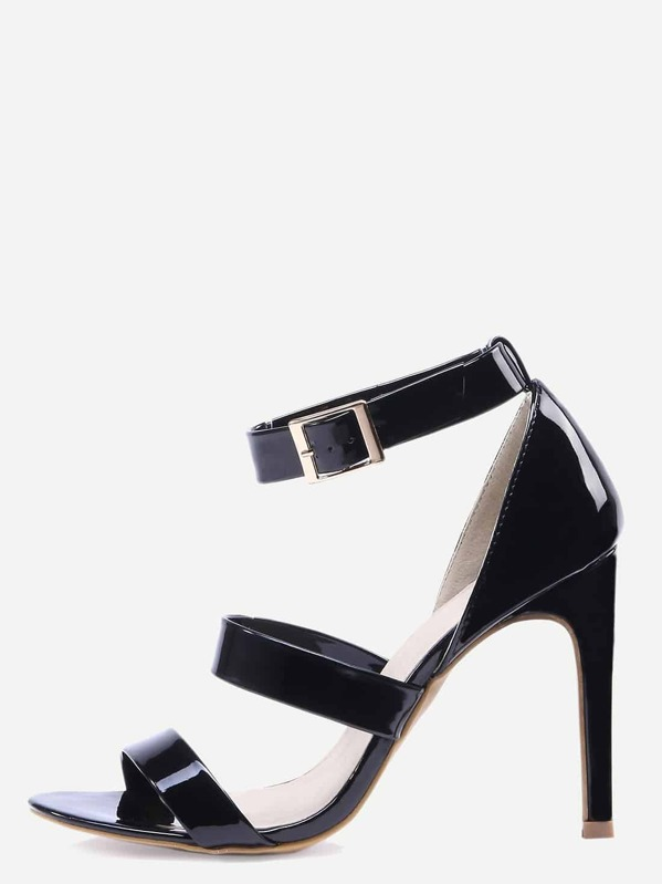 Strappy Patent Faux Leather Black Sandals OZXuiPk