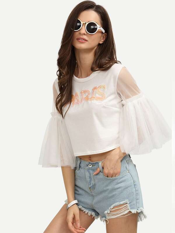 30bcae2b85dae White Mesh Bell Sleeve Crop Sequin T-shirt