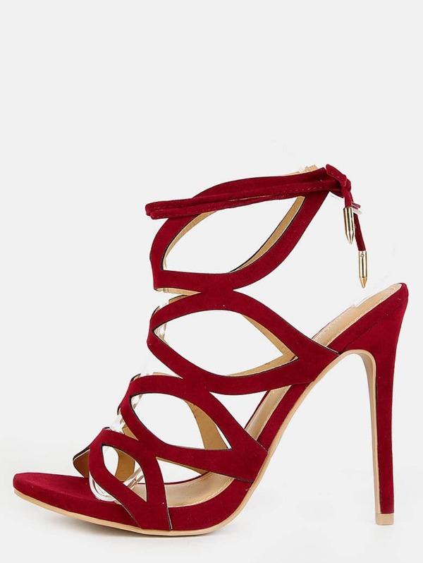 Vino Sandali Alto Con Sottili Di Listini Colore Tacco E Rosso nyw8OvmN0P
