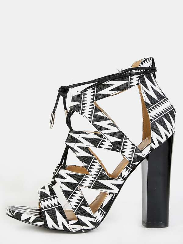 0f40f5c1d8 Zig Zag Lace Up Chunky Heels BLACK MULTI   SHEIN