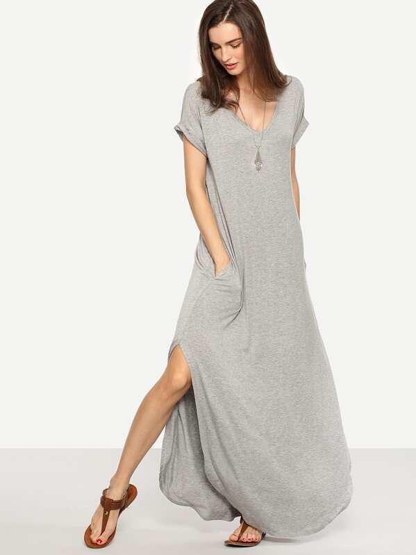 ebf85b5884e Robe longue manche courte avec fente latérale -gris