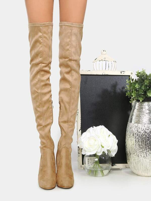 d8dee6a44127 Faux Suede Clear Heel Thigh Boots NUDE