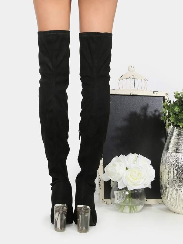 ebe13484215 Botas de tacón caña alta cristal gamuza faux - negro
