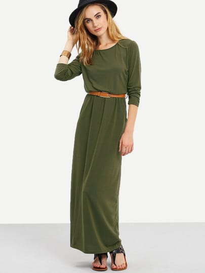 robe longue manches longues avec poches vert kaki french shein sheinside. Black Bedroom Furniture Sets. Home Design Ideas