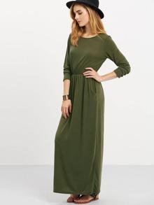 0d9ae359d55 Robe longue manches longues avec poches -vert kaki