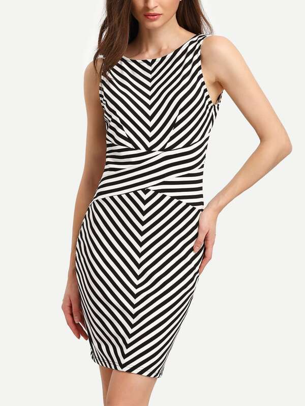 d445dc3cee7e White Black Sleeveless Striped Backless Bodycon Dress   SHEIN UK