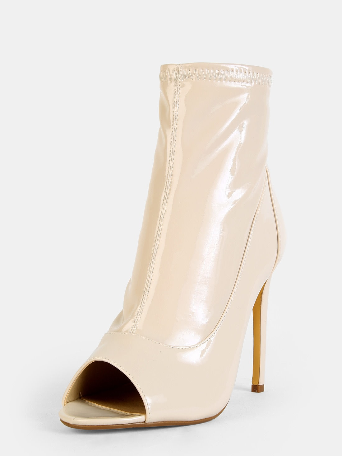 Patent Stiletto Ankle Boots NUDE