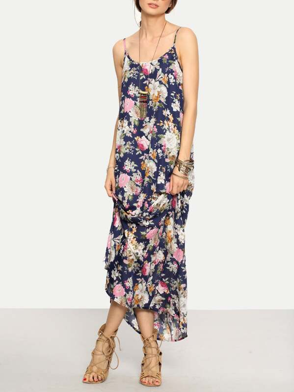 21586aca85e Cami Straps Floral Print Maxi Dress