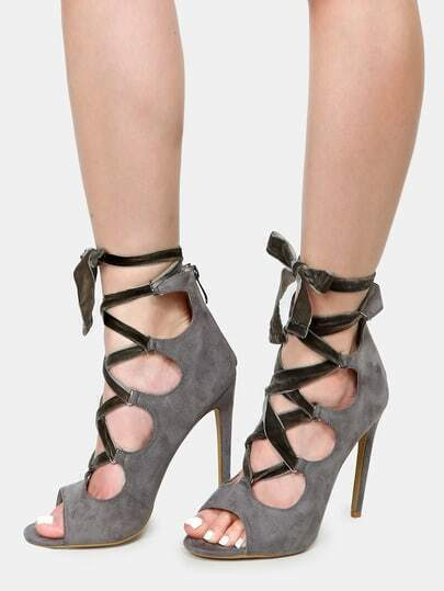 Velvet Ribbon Lace Up Heels GREY