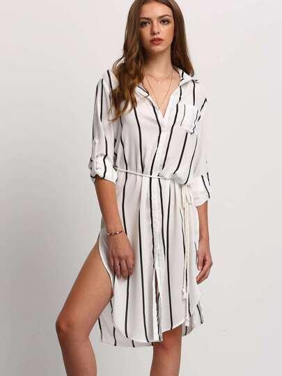 458c52897ec7 Vestito Camicia con spacco a strisce verticale con tasca Nero Bianco ...