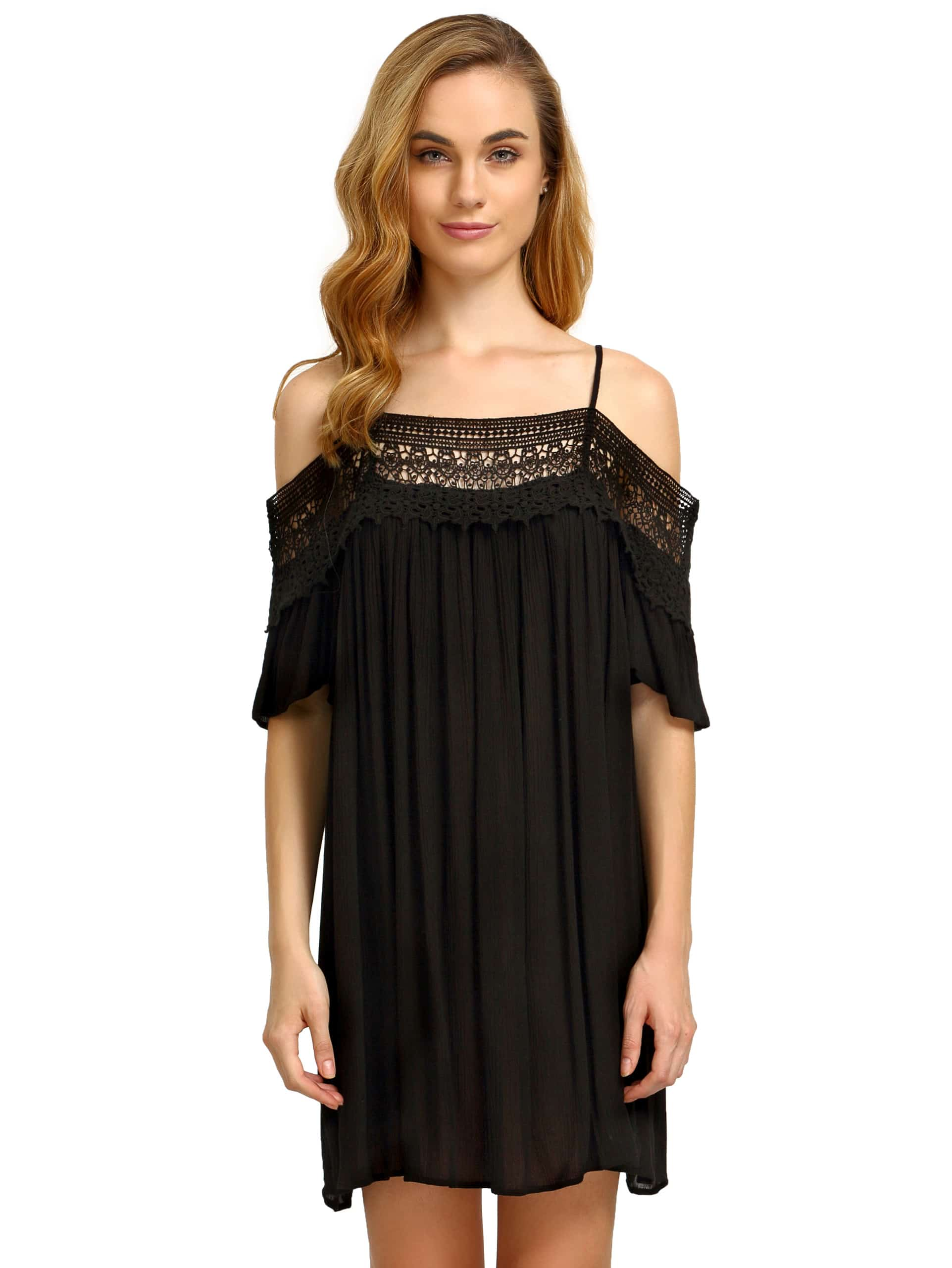 36912e740d05ee Black Spaghetti Strap Panelled Off The Shoulder With Lace Dress ...