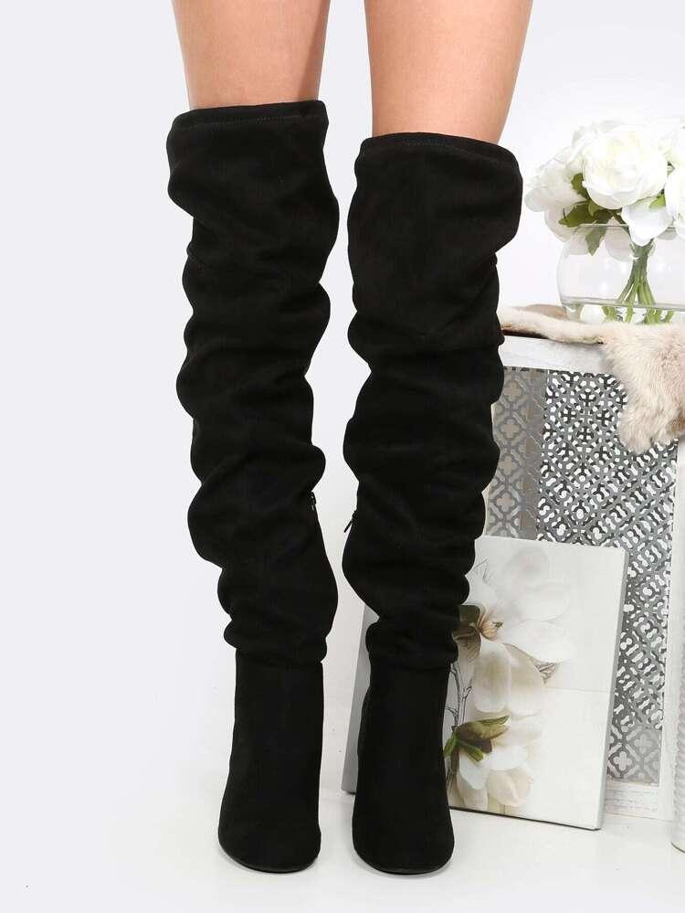 e5e1bae0ab Tassel Tie Thigh High Boots BLACK | SHEIN