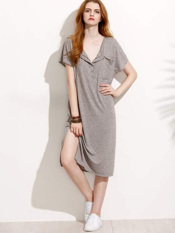 cbf03839b180 Grey Button Front Side Slit T-shirt Dress