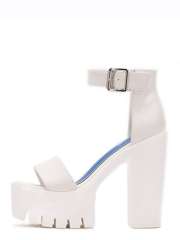 149a6a7bd84f White Lug Sole Open Toe Platform Chunky Sandals