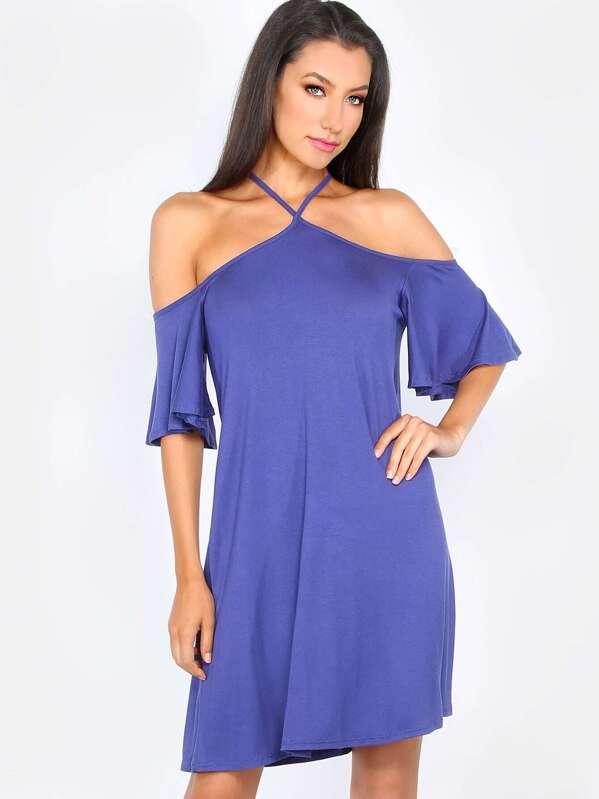 02dd1071f2b Flutter Sleeve T-Shirt Dress BLUE