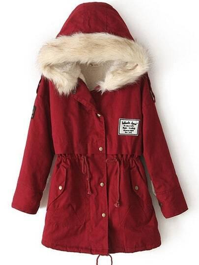 Cappotto con  cappuccio di pelliccia-rosso