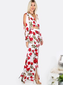 d85f8ab4cbc Floral Open Sleeve Maxi Romper RED MULTI