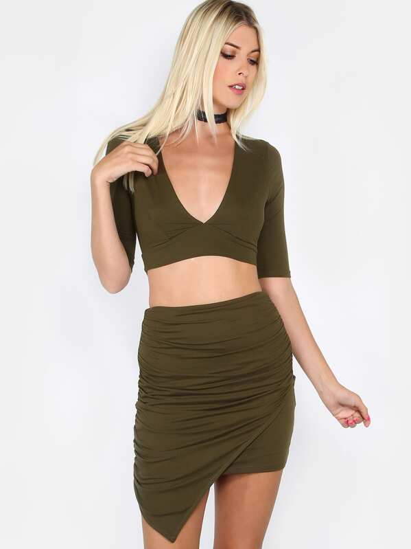 4d7285e19 Wrap Top Ruched Skirt Matching Set OLIVE