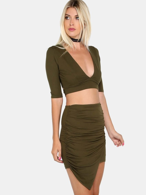 con oliva falda con en V Conjunto de cuello verde medias CxtQsdhr