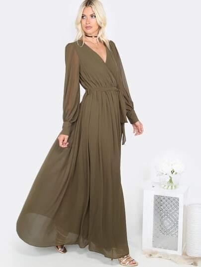 Bishop Sleeve Chiffon Maxi Dress Olive Shein Sheinside