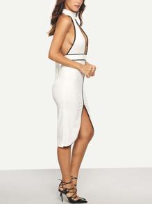 white halter sleeveless cutout sheath dress  shein usa