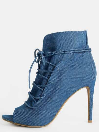 ed27e6d4494 Denim Peep Toe Stiletto Ankle Boots DENIM