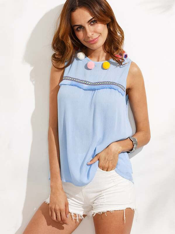 42394c4d5419d5 Bluse ärmellos mit Bommel und Schlüsselloch - blau | SHEIN