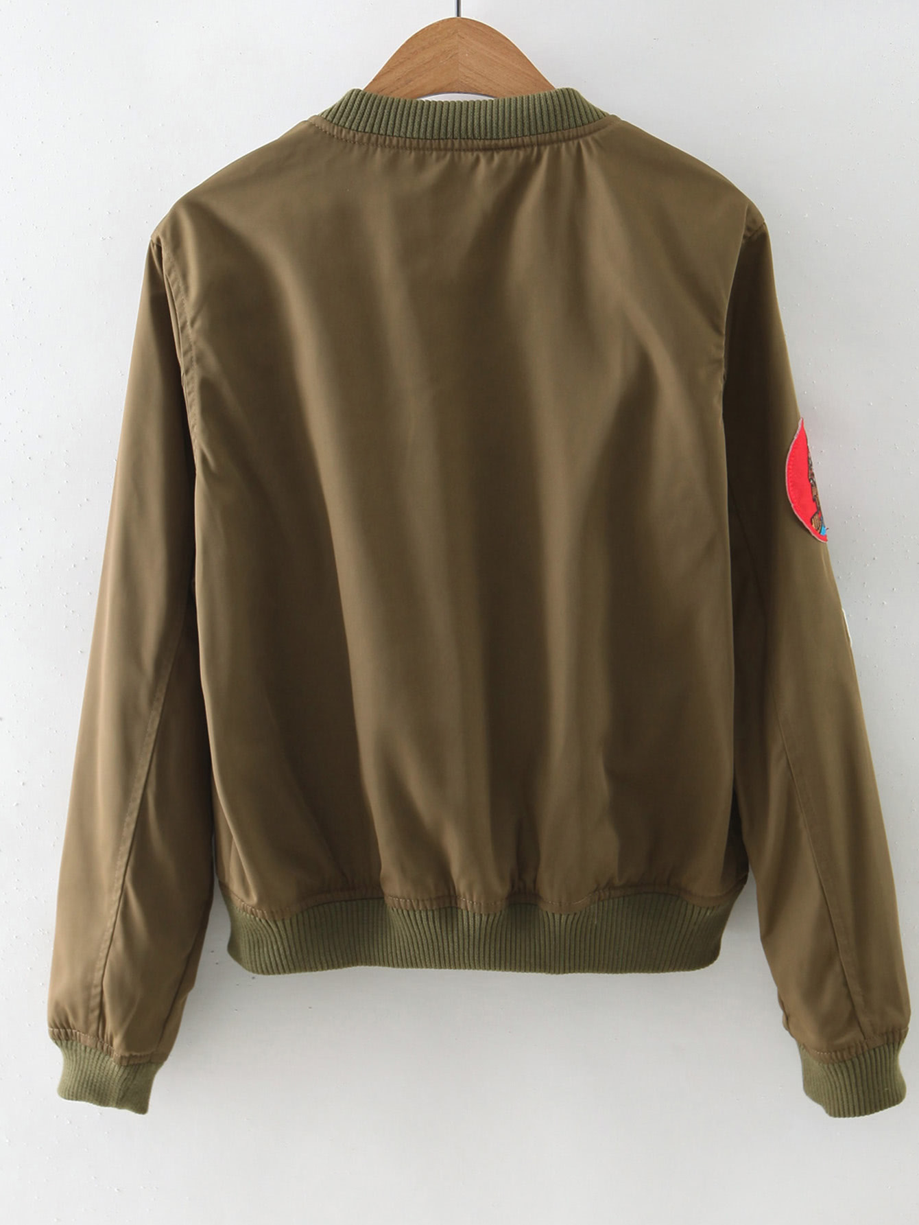 Army green zipper front badge embroidery jacket shein