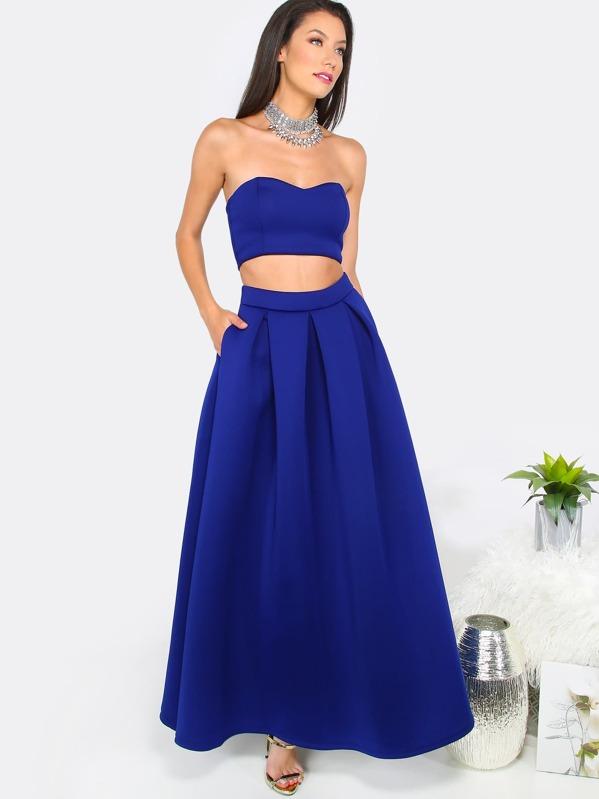 1d7b2f49d768e Royal Blue Tube Crop Top with A-Line Long Skirt   SHEIN IN