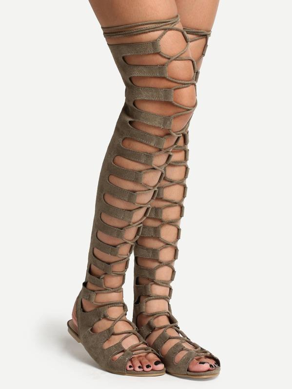 9ccdb4eadb8a Lace Up Thigh High Zipper Back Gladiator Sandals