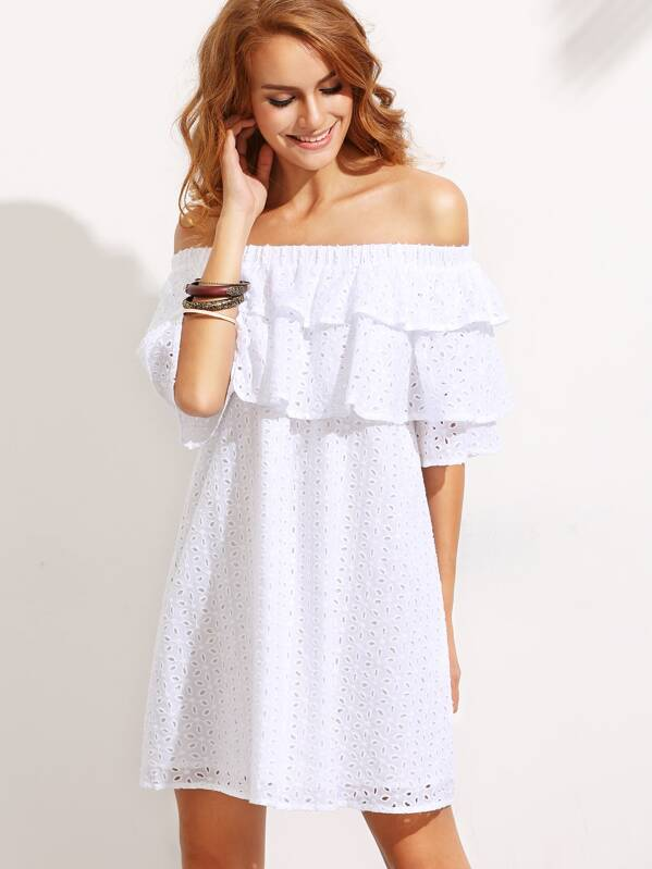 f955fad5d5d9 White Ruffle Off The Shoulder Shift Dress