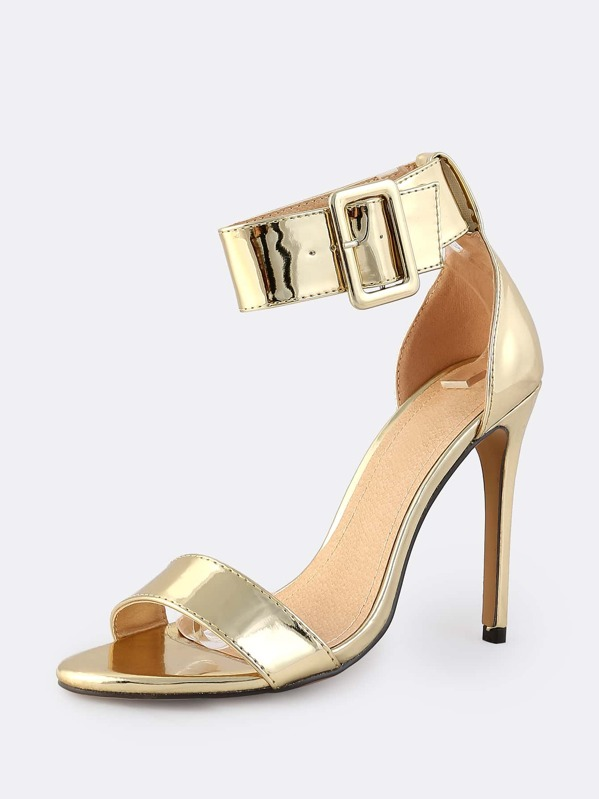 eee614f2e7b Thick Metallic Ankle Strap Heels GOLD