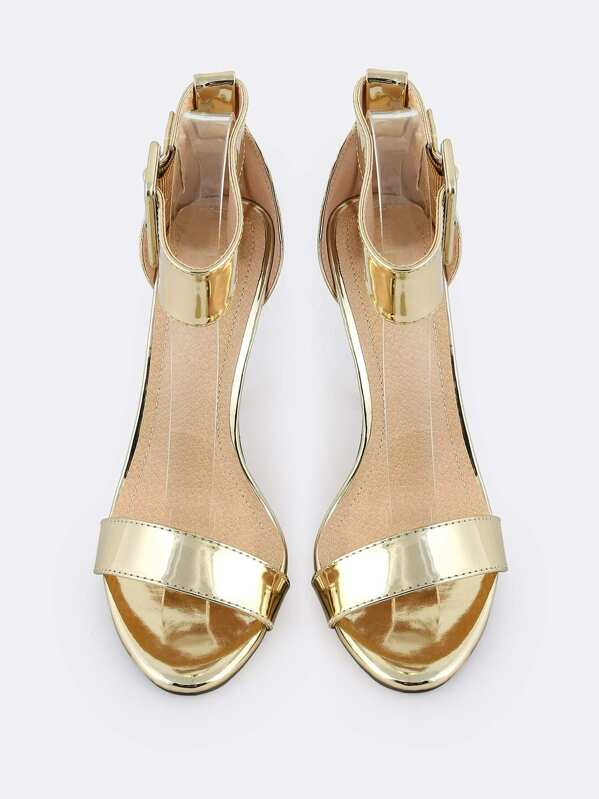 8f4d984569 Thick Metallic Ankle Strap Heels GOLD | SHEIN