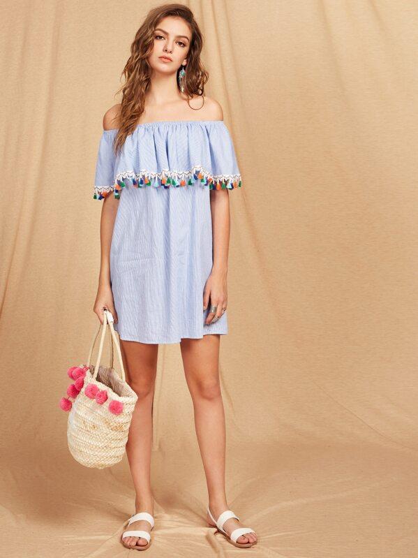 05f33af6f38 Tassel Trim Striped Flounce Bardot Dress