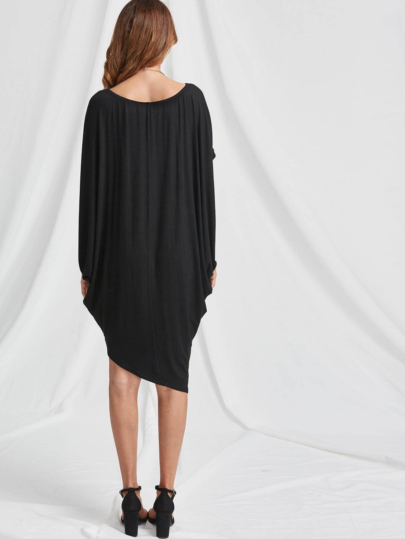 Asymmetric shoulder dolman sleeve dress shein sheinside for Dolman sleeve wedding dress