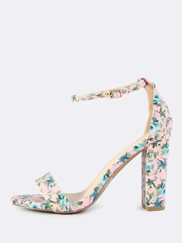5b255889ee8 Chunky Floral Ankle Strap Heels PINK
