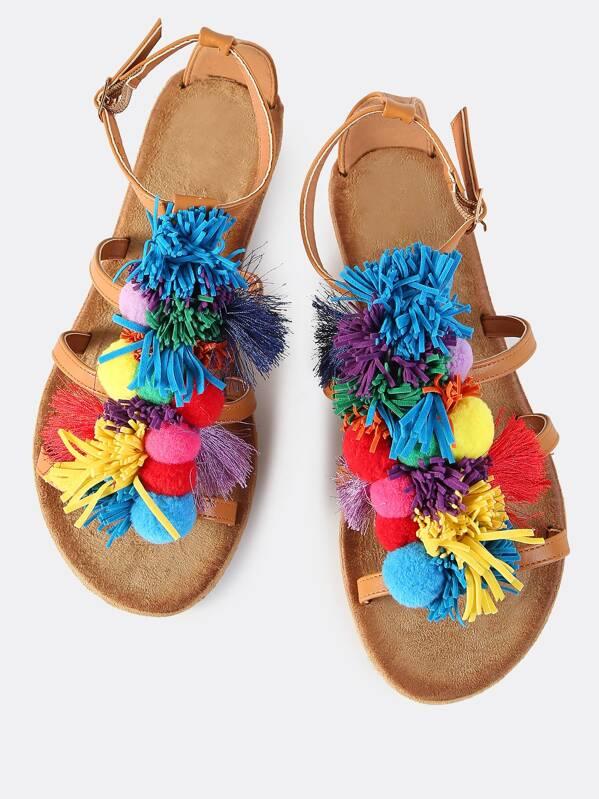 ea27933a6b0 Pom Pom Tassel Flat Sandals TAN