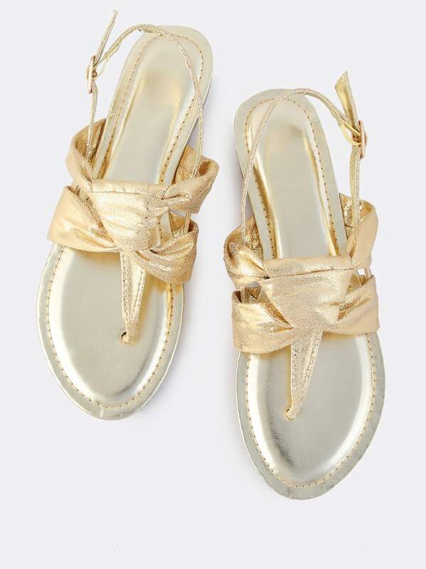 Metallic Knotted Thong Sandals GOLD -SheIn(Sheinside)