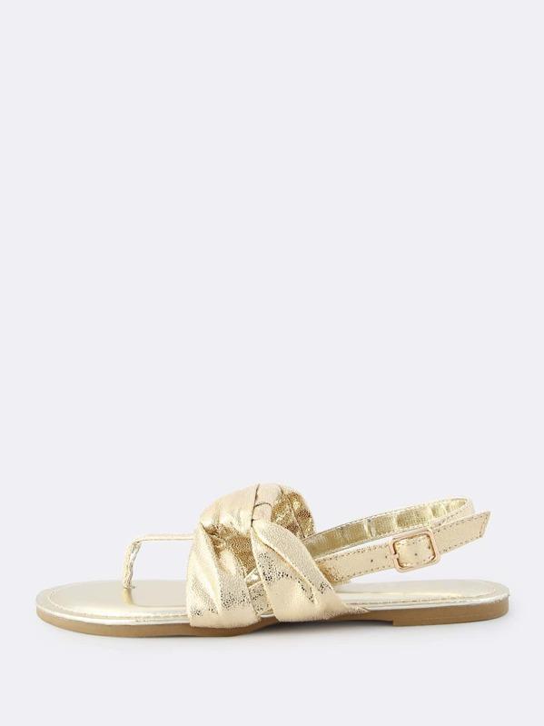 e08faa59a666a0 Metallic Knotted Thong Sandals GOLD -SheIn(Sheinside)