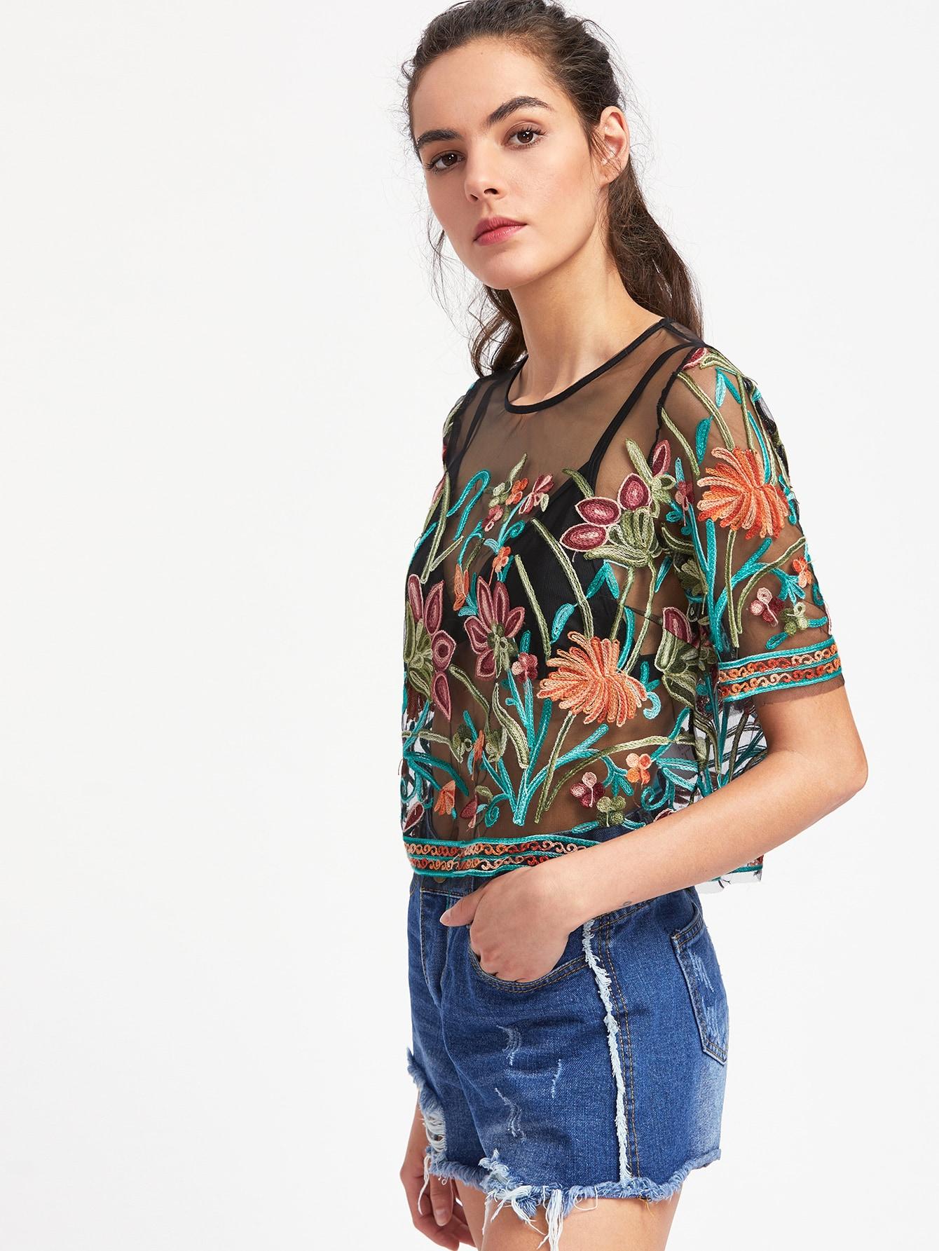 a7b7dda691 Flower Embroidered Mesh Crop Top | SHEIN IN