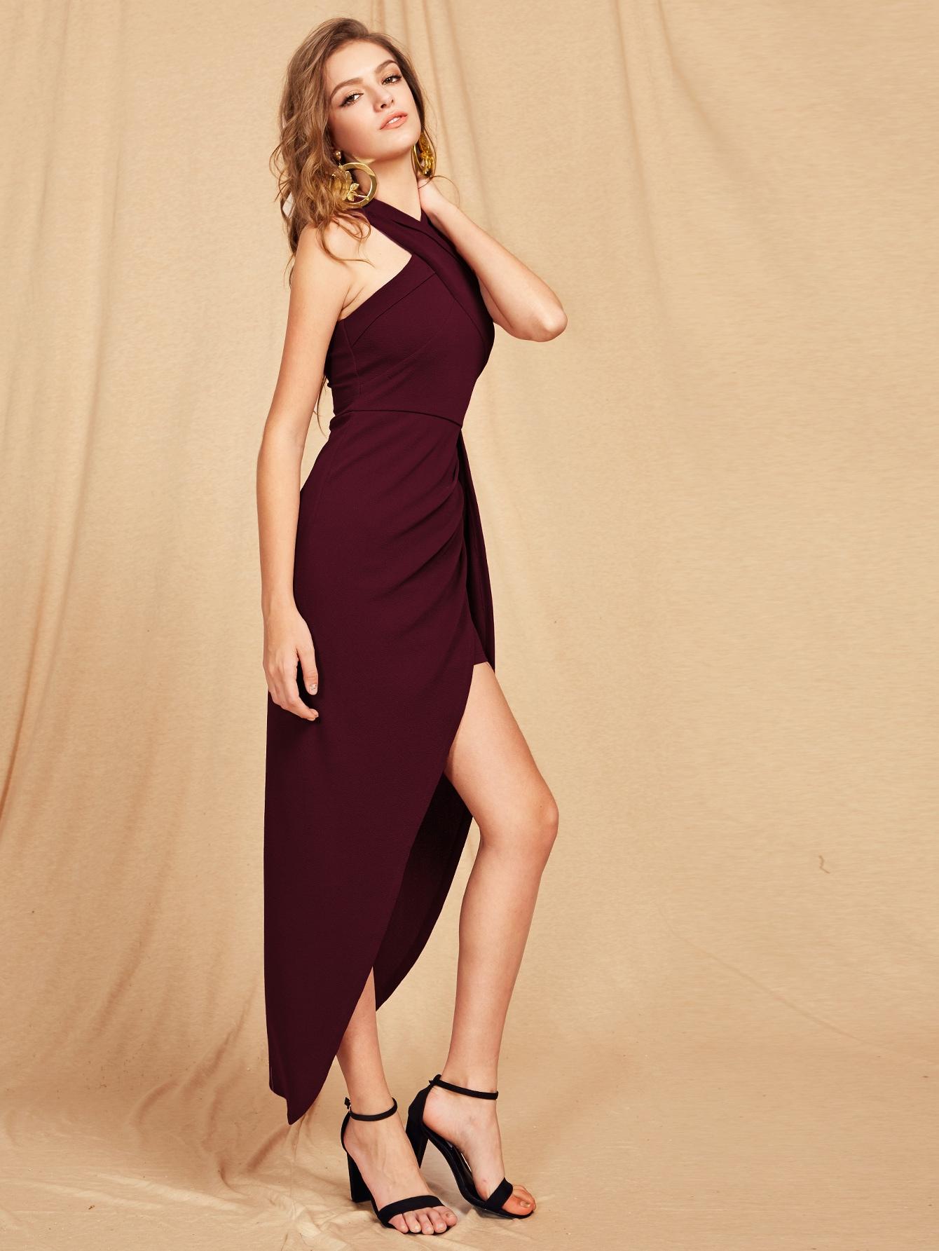 Halterneck Criss Cross Front Maxi Dress