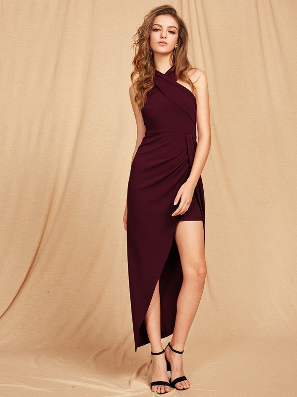 0427d47bb08d5 Cross Halterneck Asymmetrical Maxi Dress
