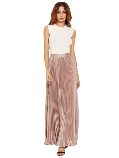 Light Khaki Zipper Side Pleated Flare Maxi Skirt