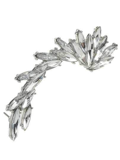 Silver Plated Rhinestone Cuff Earring 1pcs